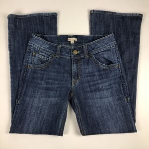 CAbi Hand Distressed Bootcut Jeans
